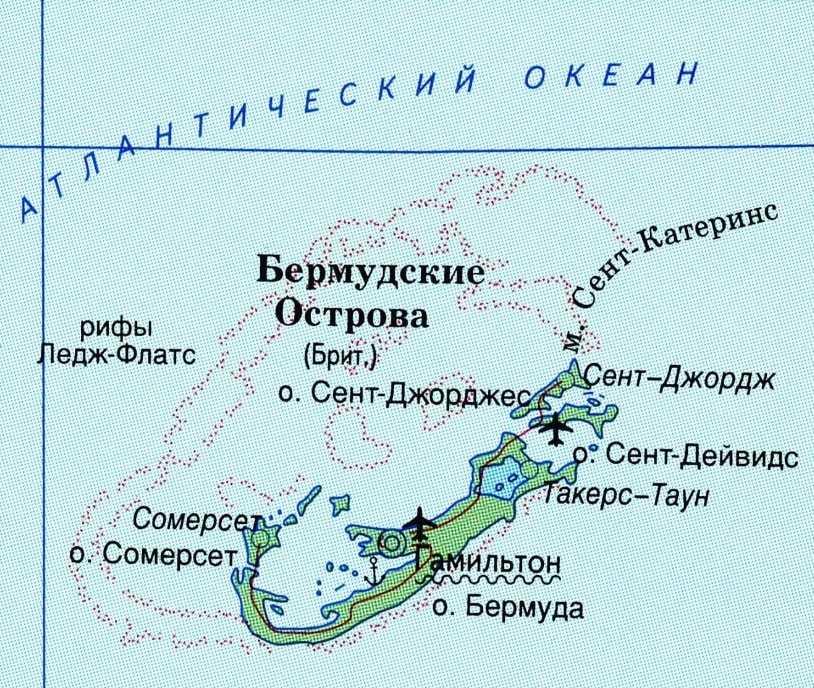 Расположение Бермудских островов на карте