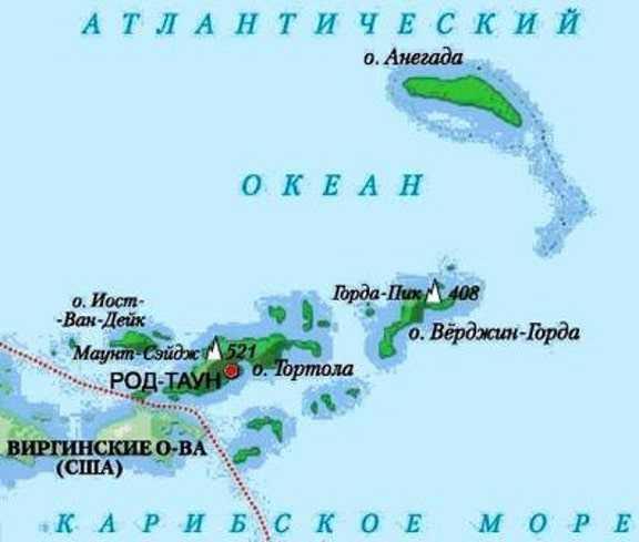 Карта Британских виргинских островов