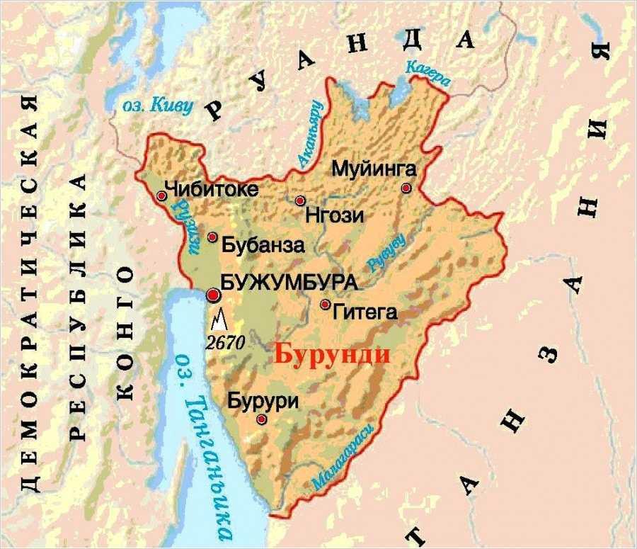 Бурунди карта