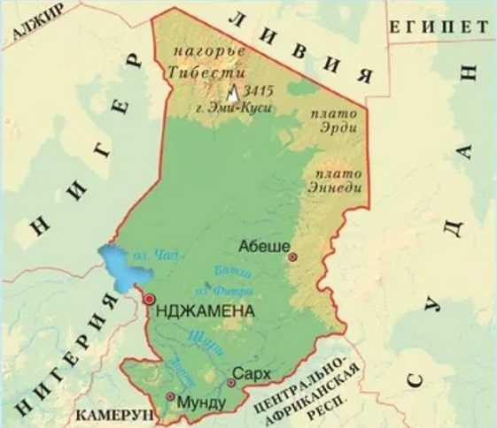 Страна Чад на карте