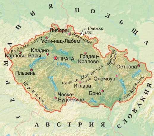 Чехия на карте