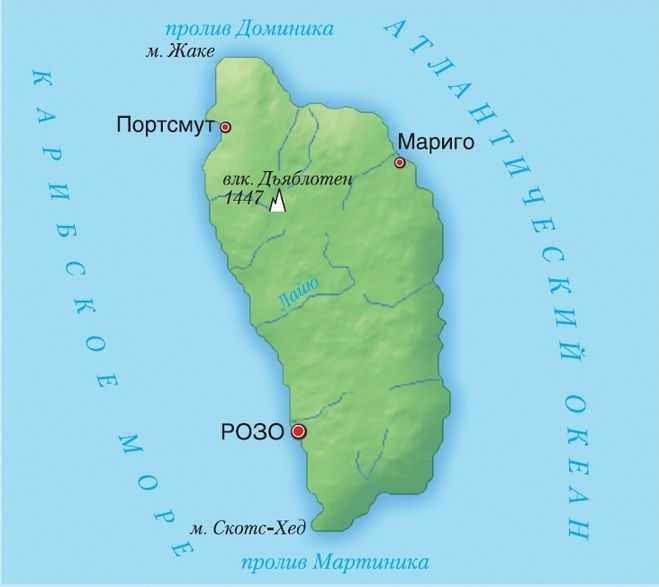 Карта Доминики
