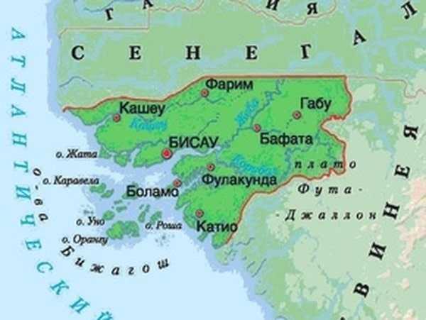 Карта Гвинеи-Бисау