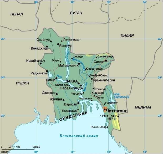 Страна Бангладеш на карте