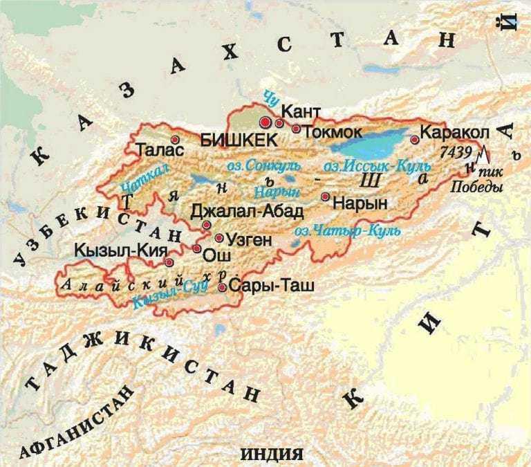 Киргизия карта