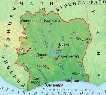 Кот-д'Ивуар на карте