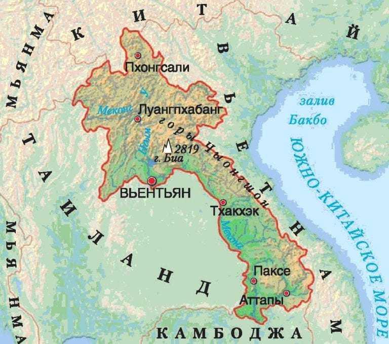 Лаос карта