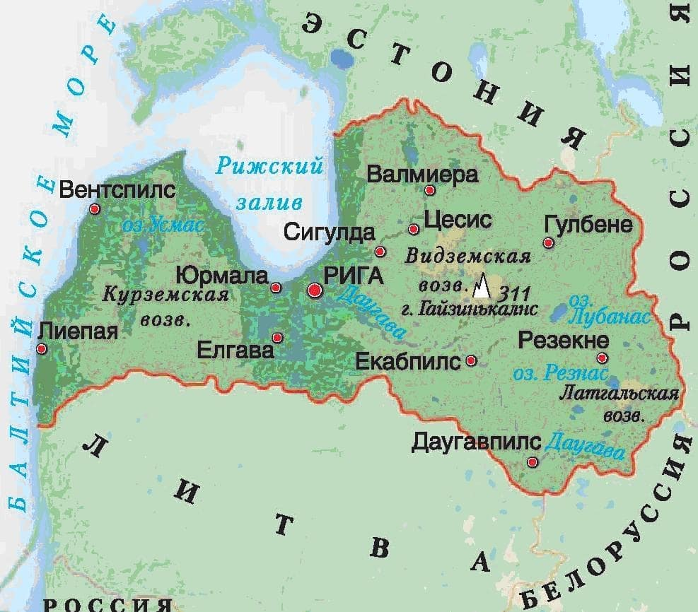 Латвия карта