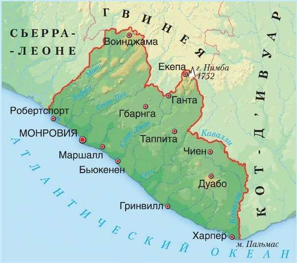 Либерия карта