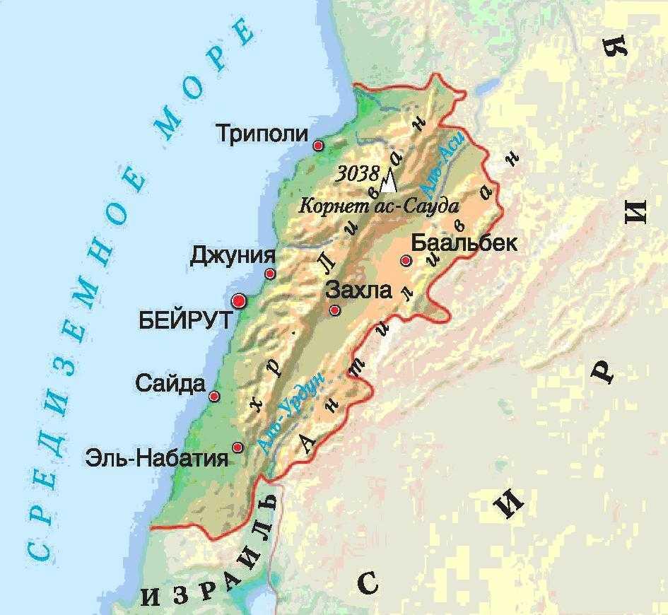 Ливан карта