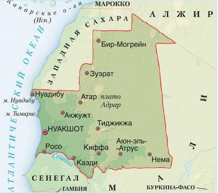 Мавритания карта