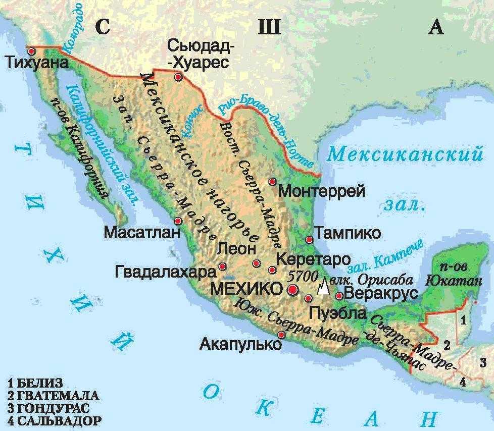 Мексика карта