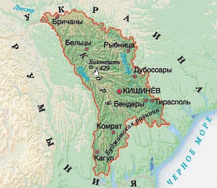 Молдавия карта