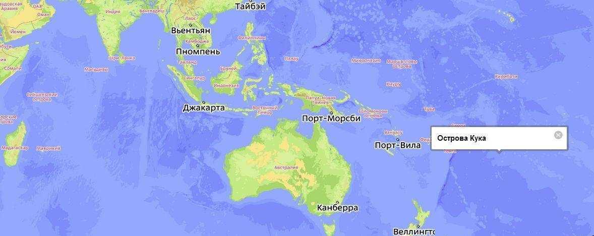 Острова Кука на карте мира