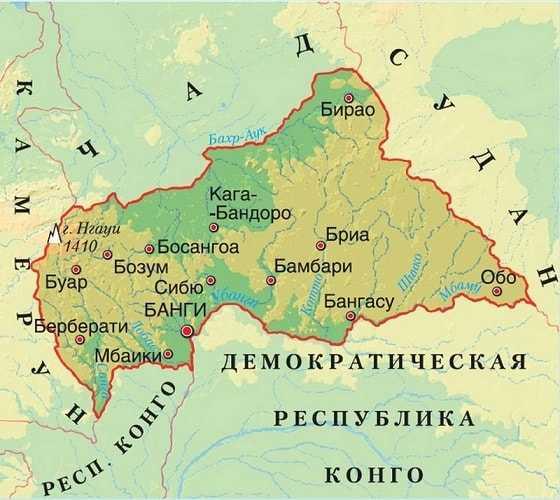 Центральноафриканская Республика карта