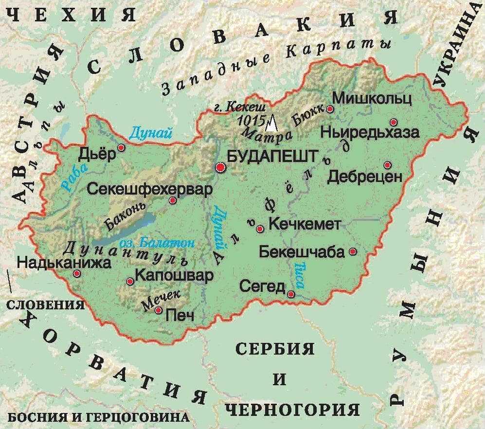 Венгрия карта