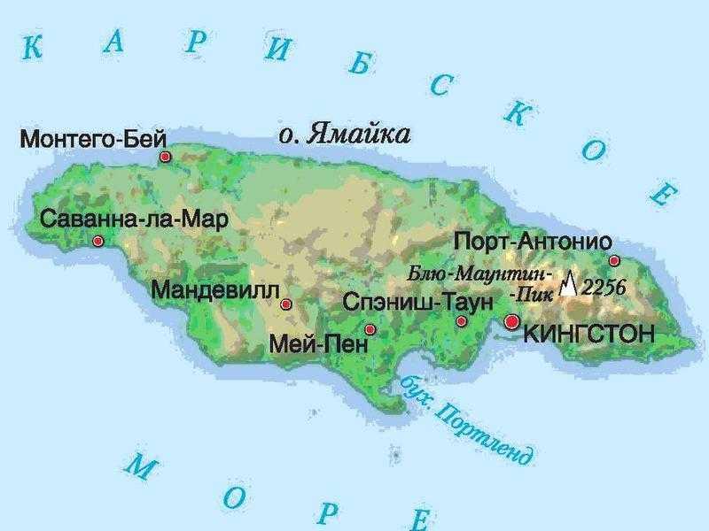 Ямайка карта