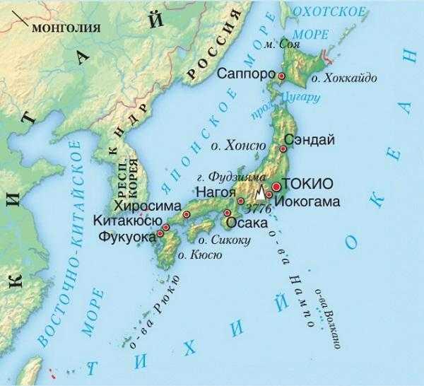 Япония карта