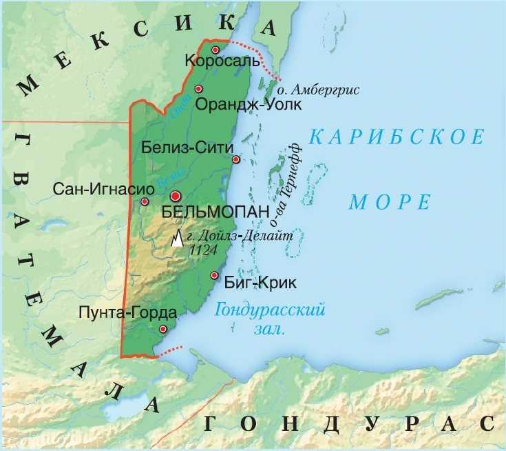 Белиз на карте