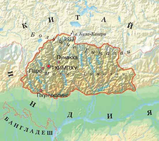 Бутан карта