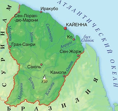 Карта Французской Гвианы