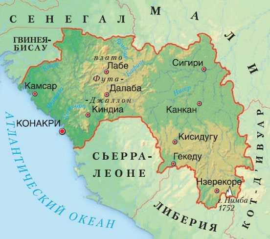 Карта Гвинеи