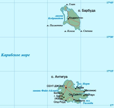 Карта государства Анти́гуа и Барбу́да