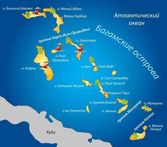 Карта багамских островов. Карта багам.