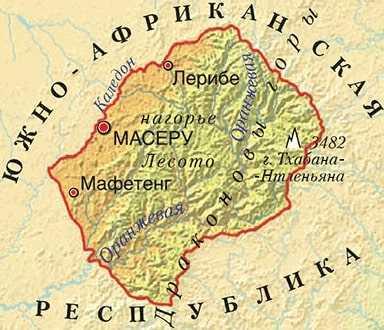 Лесото карта